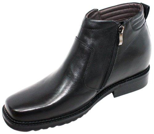 calto-g9901-8,4cm Grande Taille-Hauteur Augmenter Chaussures ascenseur (Noir Square-Toe Bottes)
