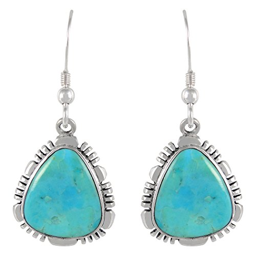 Turquoise Earrings in 925 Sterling Silver & Genuine Turquoise