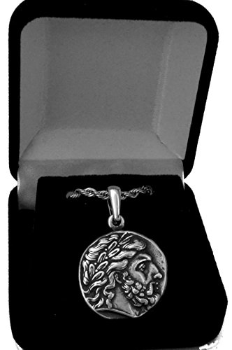 Greek Mythology Zeus King of the Gods Coin Pendant and Chain 4PCS