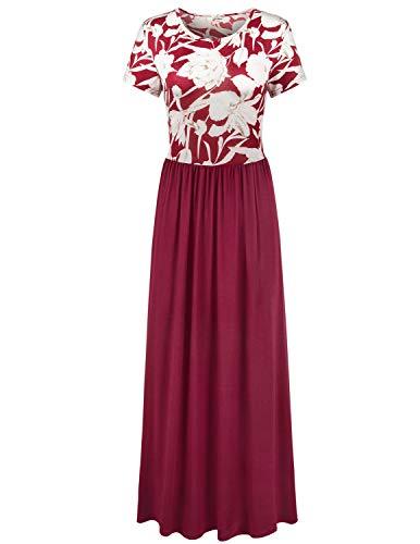 1ef353d33f9 Elemevol Womens Maxi Dress Floral Print Casual Long Dress Under 20 Dollars