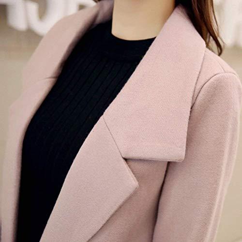 Lunga Solidi Giubotto Manica Giacca Coat Colori Abbigliamento Targogo Pink Invernali Vento Tasche Confortevole Donna Bavero Pulsante Anteriori Casual Trench cP17PZ