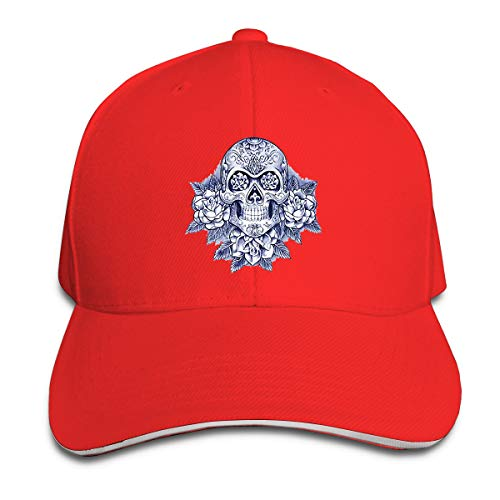 Day Dead Skull Roses Watercolor Unisex Quick Dry Men's Athletic Baseball Fit Cap Hip Hop Summer Caps ()