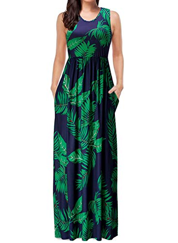 Floral Print Green (Mulysaa Women's Sleeveless Floral Print Maxi Dress Tank Top Casual Long Dresses with Pockets Green 1 M)