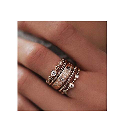ManxiVoo Bohemian Ring Set Stacking Infinity Wedding Engagement Band Jewelry (Gold, 9)