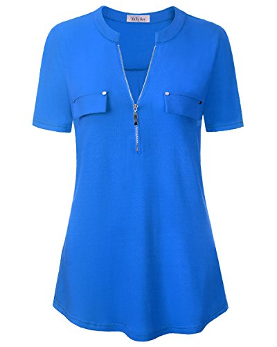 YaYa Bay Work Shirts For Women Office, Light Blue XL Stylish Designer Blouses Short Sleeve Button Down Pleat A Line Flare Cotton Jersey Knit Button Up Zipper Up Shirt For - Top Women Designers For