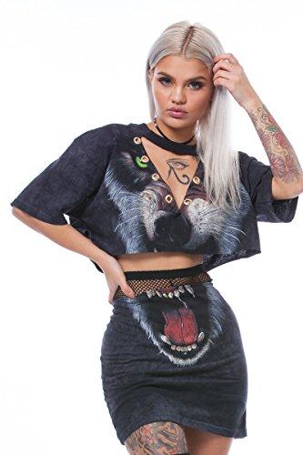 Outfit Crop 2 Short V Black Mini Top Set Dress Neck Pieces Rompers Women's Tiger Prints Sleeve xEpXIzI
