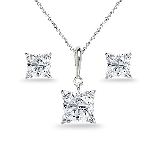 Sterling Silver Created White Sapphire Studded Solitaire Necklace & Stud Earrings Set by GemStar USA