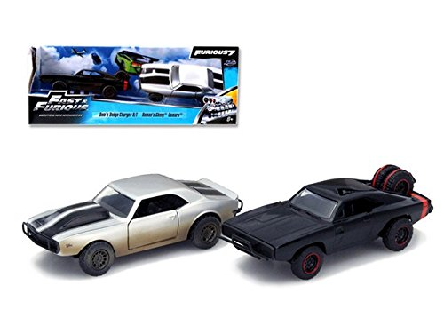 Jada 97163 Doms 1970 Dodge Charger R & T Off Road & Romans Chevrolet Camaro Z by 28 Fast & Furious 7 Movie Set of 2 Cars 1-32 Diecast Model Cars (Fast And Furious 7 Dodge Charger Off Road)