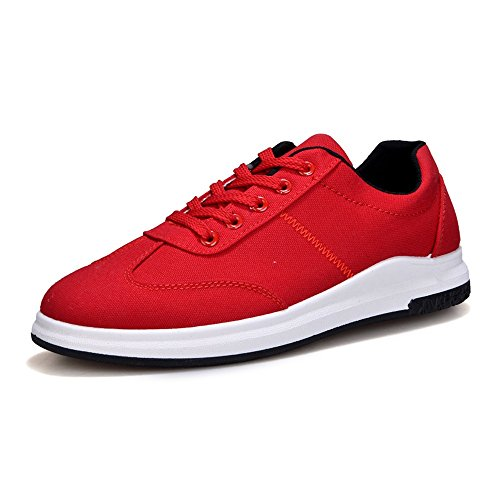 Suola Top 8 Dimensione Scarpe Resistente uomo amp;Baby casual Sunny da Color MUS Lace Red Sneaker all'abrasione Bianca piatta Low Mocassini Up Canvas PHnXq