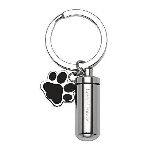 Jovivi Free Engraving - Personalized Custom Stainless Steel Cylinder Bottle Dog Paw Tag Urn Keychain Keepsake Ashes Memorial Pendant Cremation Jewelry,Mothers Day