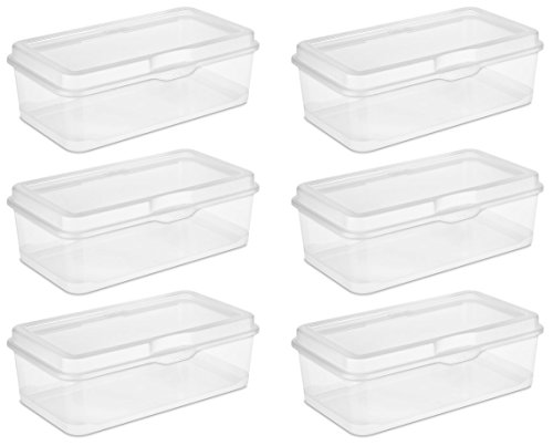 Sterilite 18058606 Large Flip Top, Clear, 6-Pack (Plastic Top)