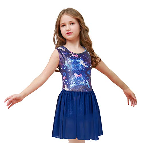Nidoul Gymnastics Leotards for Toddler/Girls Sparkly Unicorn Rainbow Skirted Dance Ballet Leotard (Skirted-Blue#2, Age: 9-10 -