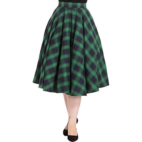 Voodoo Vixen Marienne Plaid Full Circle Skirt Green XL -