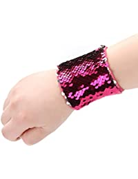 Girls Mermaid Bracelet for Party Favors, Birthday Gifts, Two-color Reversible Charm Sequins Wristband Magic Calming Bracelets for Kids, Boys - Super-soft Velvet Lining