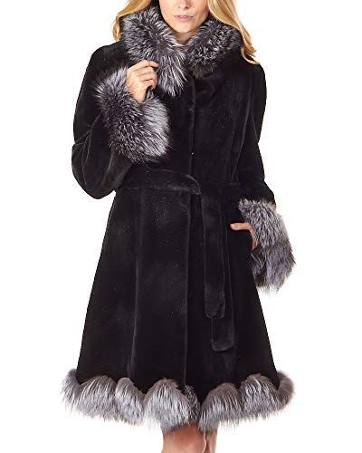 (Sheared Black Mink Coat with Silver Fox Trim - Medium)