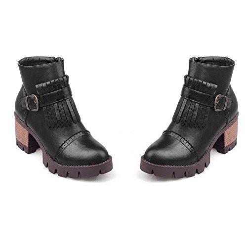 Zipper Women's AgooLar Toe Boots Black Heels Round Solid Kitten W1F1qP