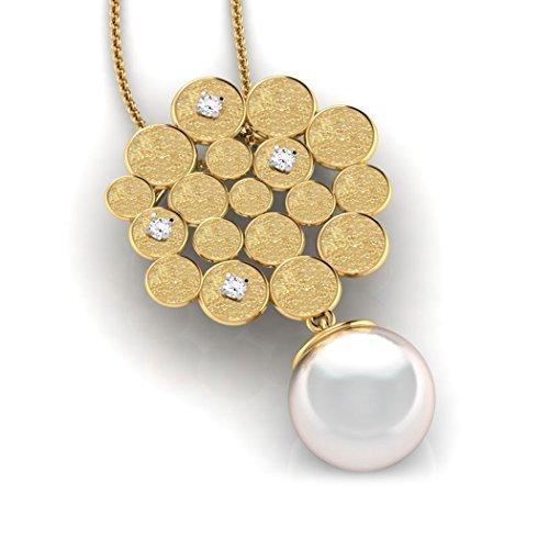 18K Or Blanc 0,03CT TW Round-cut-diamond (IJ   SI) et perle Pendentif