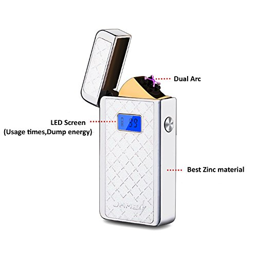 USB rechargeable electric dual Arc lighter windproof coil lighter with LED screen-silver