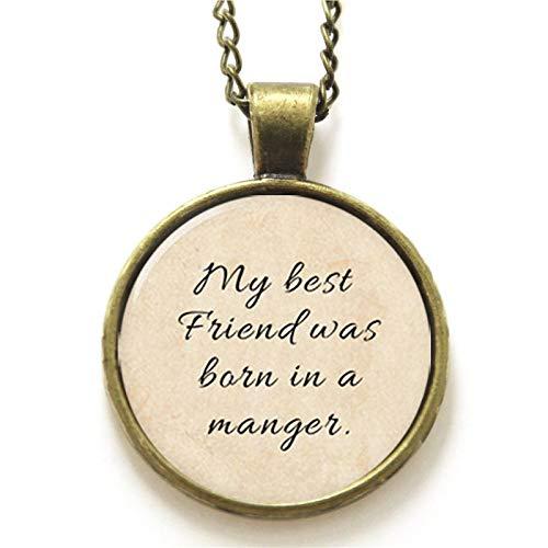 Davitu 10pcs/lot Bible Necklace, My Best Friend was Born in a Manger Necklace Glass Photo Christian Necklace - (Metal Color: Gun Black)