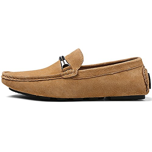 rismart Mens Trendy Suede Driving Loafers Shoes With Metal Decoration Comfortable Carpet Shoes Yellow 8028 US8 PCWwrxh