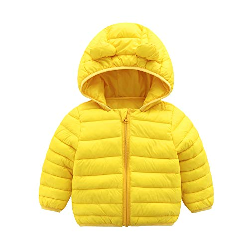 CECORC Winter Coats for Kids with Hoods (Padded) Light Puffer Jacket for Outdoor Warmth, Travel, Snow Play | Little Girls, Little Boys | Baby, Toddlers, 4T (120), Yellow