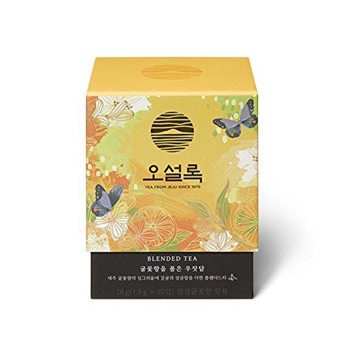 Osulloc Stone Fence Enveloped In Tangerine Flower Blended Organic Green Tea Pyramid 18g Jeju Tangerine Flavor (1.8g x ()