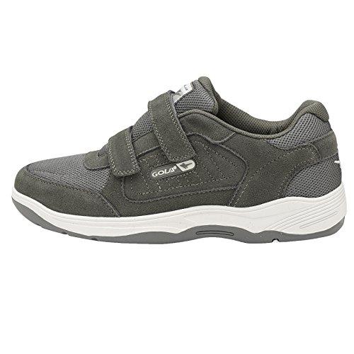 Chaussures De Sport Pour Hommes Style Gola Nouvelle Chaussure Large Passform Velcro Casual Cuir Anthracite Belmont