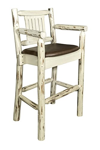 Unfinished Wood Saddle Seat Stool - Montana Woodworks MWBSWCASSADD Montana Collection Captain's Barstool, Ready to Finish with Upholstered Seat, Saddle Pattern