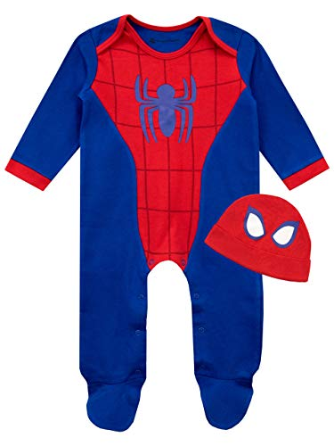 Marvel Baby Boys' Spiderman Footie and Hat Set Size 18M Blue (Pajamas Adult Man Footie Spider)