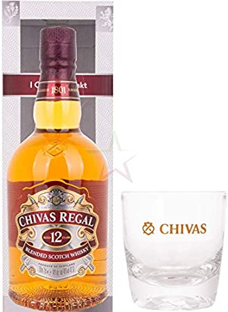 Chivas Regal 12 Years Old Blended Scotch Whisky 40% - 700ml in Giftbox with glass