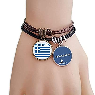 YMNW Made Greece Country Love Friendship Bracelet Leather Rope Wristband Couple Set Estimated Price -