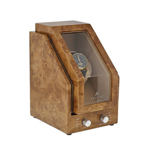 Brand New Watch Winder for 1 Watch Light Burl Wood Finish Beige Velvet interior Premier Range by Aevitas by Aevitas