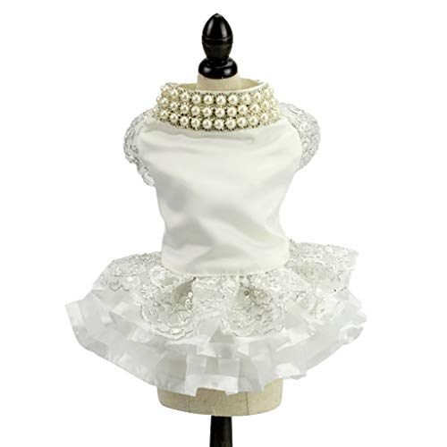 Pet Elegant Princess Dress,Bling pearl Dog Tutu Dress -Summer Dog cat White Wedding Evening Dress -Fashion Sweet Lace Hollow Dress - cute Medium and small vest shirt Teddy,Pug,Papillon (XS, White) -