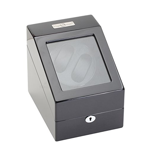 Diplomat Black Wood Double Watch Winder with Black Leather Interior and 4 Program Settings -