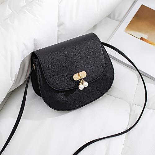 Peigen Women's Boxy Small Cross Body Bag Shoulder Handbag Purse Square Bag Single Shoulder Pearl Decoration Messenger Bags