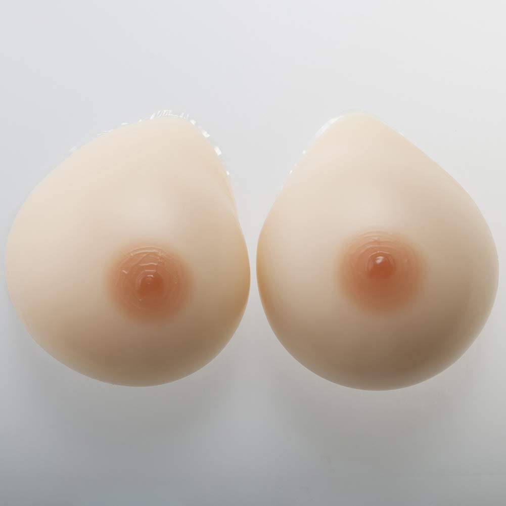 Natural Round Shape Silicone Breast Forms,Flexibility Comfortable Soft Fake Boobs Look Like Real, Skin Color,800g/Pair/L/CupC