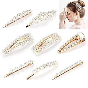 Pearl Hair Clips for Women Girls, Funtopia 8pcs Fashion Sweet Artificial Pearl Alligator Clips Barrettes Bobby Pins Snap Clips Decorative Hair Accessories for Party Wedding Daily, Applies to Bun Updo