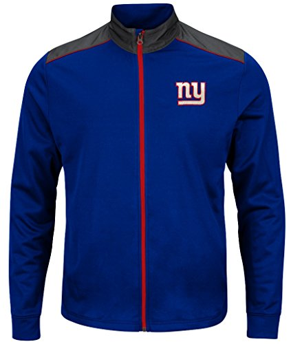 New York Giants NFL Mens Majestic Therma Base Tech Team Full Zip Track Jacket Royal Blue Big Sizes (5XL) -