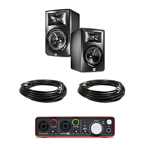 JBL LSR305 5-inch Two-Way Powered Studio Monitors (PAIR) w/ Scarlett 2i2 Audio Interface + (2) XLR Cables