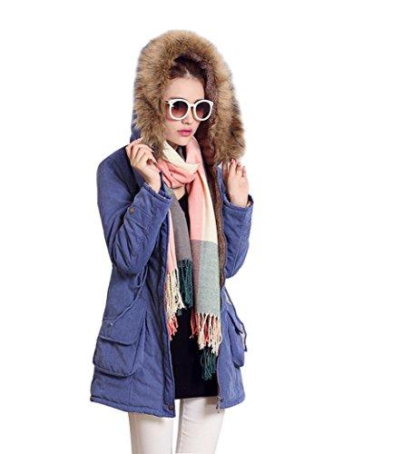 Veste Parka Manteau Hiver long pour femme Epais avec rembourrage synthtique Zip et Capuche 3674 Bleu