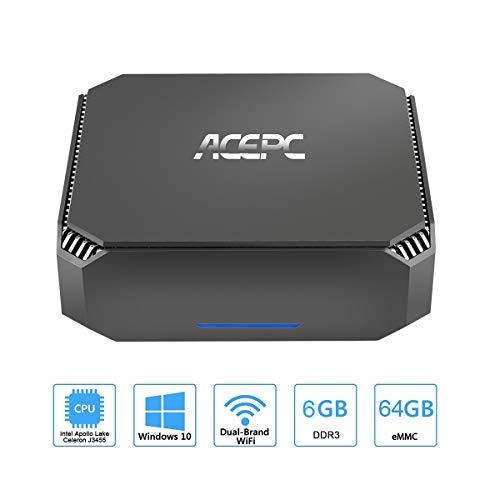 AK2 Mini PC Intel Celeron J3455,Windows 10 Micro Computer, 6GB DDR3/64GB eMMC,4K HD Graphics,Gigabit Ethernet,Dual Band Wi-Fi from SMALLRT