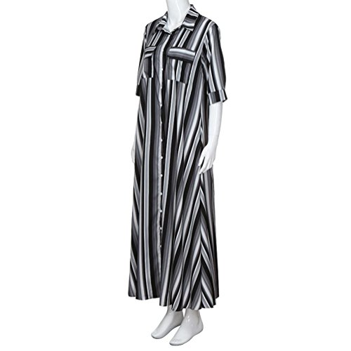 AMOFINY New Women Boho Striped Multicolor Loose Button Beach Party Long Dresses by AMOFINY-Dress (Image #4)