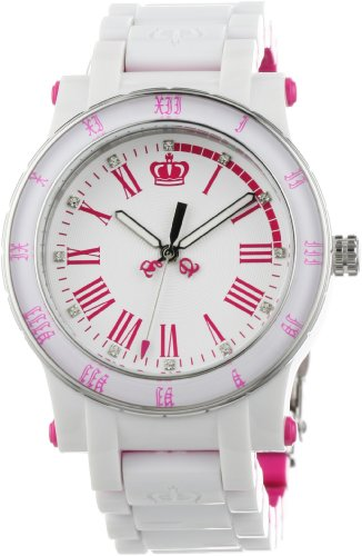 (Juicy Couture Women's 1900750 HRH White and Pink Plastic Bracelet Watch)