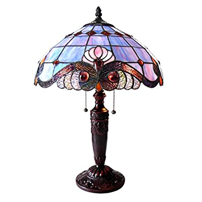 "Chloe Lighting CH815063LV15-TL2 Tiffany Tiffany-Style Victorian 2 Light Table Lamp 14.5"" Shade, Multi"
