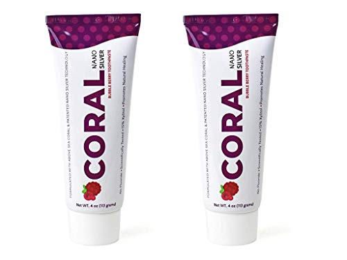 Coral White Nano Silver Bubble Berry Toothpaste, Natural Fluoride Free Teeth Whitening Toothpaste, Coral Calcium Nano Silver Infused SLS Free (2 Pack)