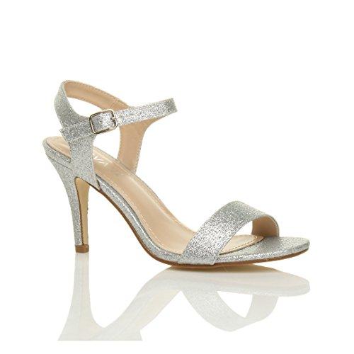 Femmes Chaussures Pointure Boucle Paillettes Lanières À Talon Ajvani Sandales Argent Haute Fête Élégant Scintillante dTzd4w