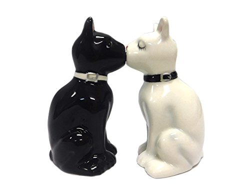 Feline Spicey Black & White Cats Salt & Pepper Shaker Set S/P by Pacific Trading