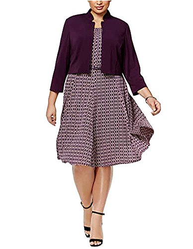 Jessica Howard Plus Size Belted Fit & Flare Dress and Jacket 18W