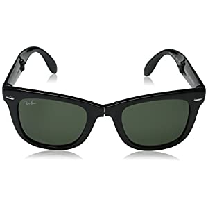 Ray-Ban Men's RB4105 601 Folding Wayfarer Square Sunglasses, Black & Crystal Green, 50 mm