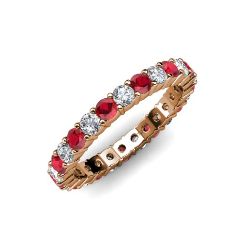 Ruby and Diamond Common Prong Eternity Band 2.05 ct tw to 2.46 ct tw in 14K Rose Gold.size 8.5 (Tw Eternity Diamond Band 2ct)